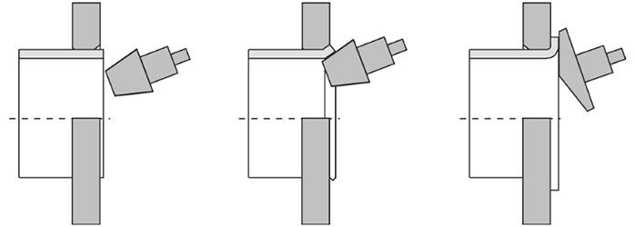 Развальцовка вращающимся конусом схематично